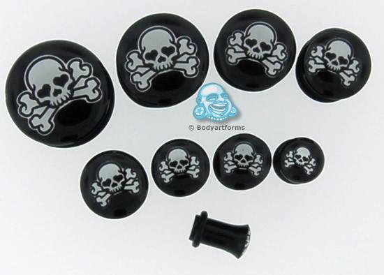 Single Flare Acrylic Skull & Bones Plug