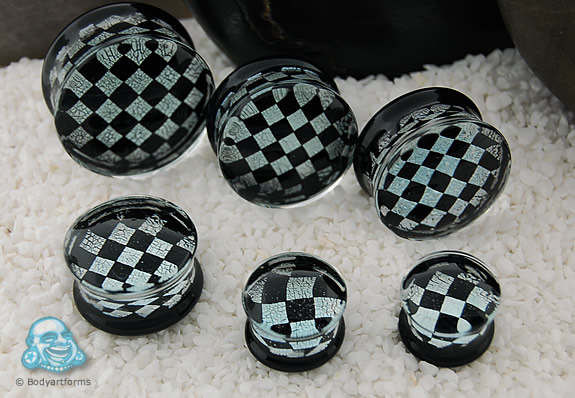 Pyrex Black and Silver Checkerboard Foil Plugs