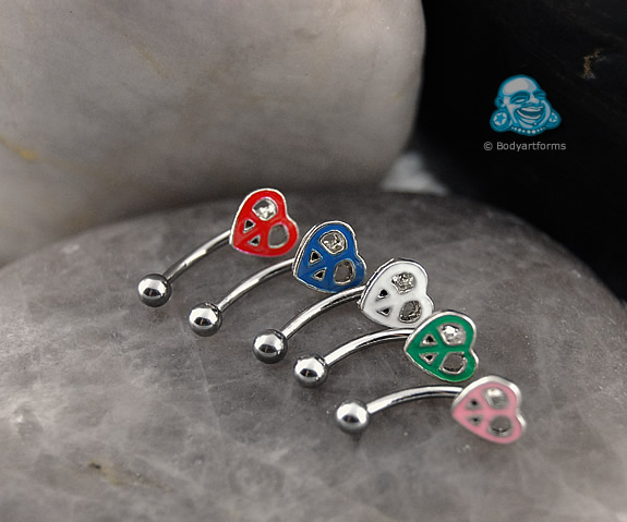 Steel Curved Barbell with Peace Heart