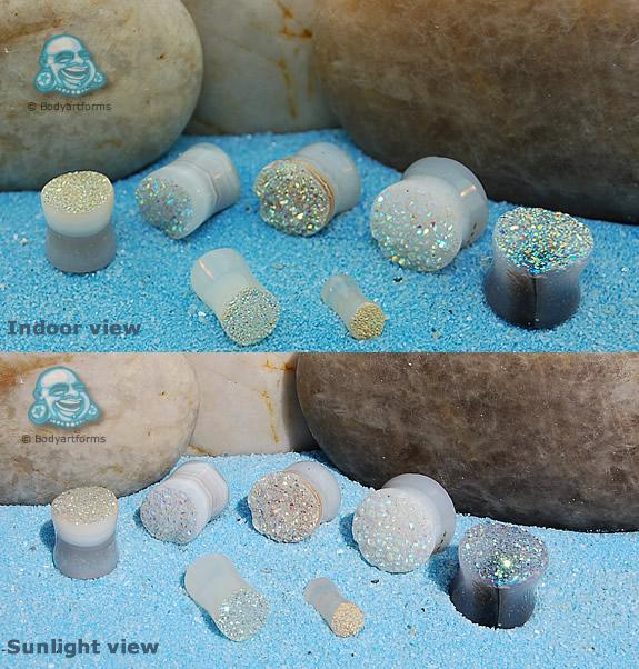 Stone Rough Face Rainbow Drusy Plug