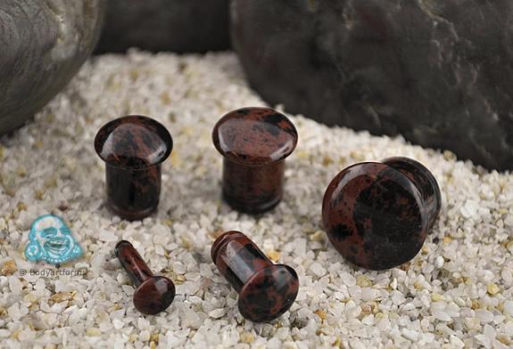 Single Flare Mahogany Obsidian Stone Plugs