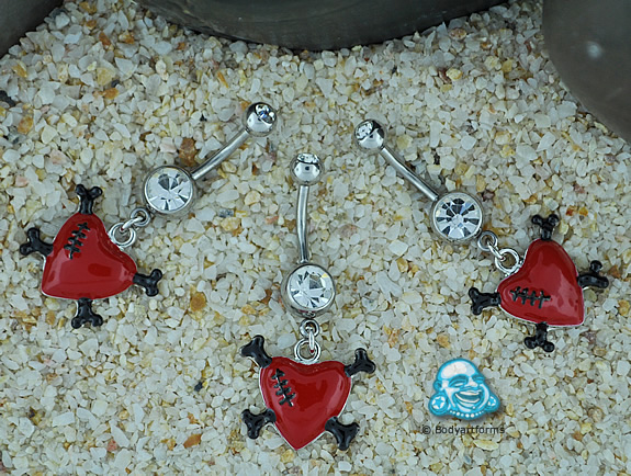 Stitched Heart and Crossbones Navel