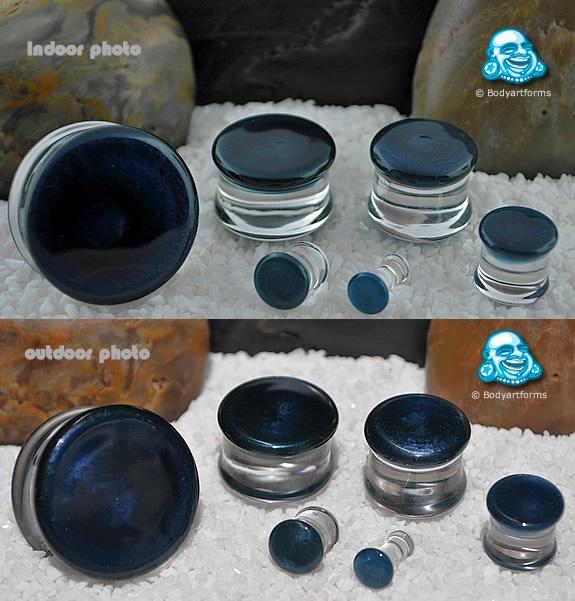 Double Flare Pearl Blue Colorfront Pyrex Plug