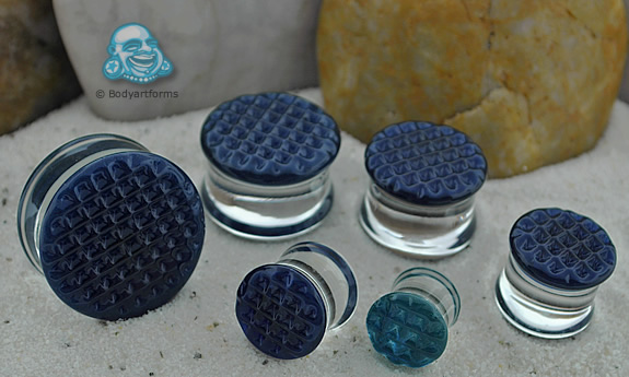 Waffle Texture Pearl Blue Plugs