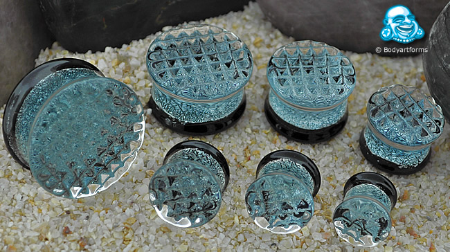 Waffle Texture Silver Dichroic Plugs