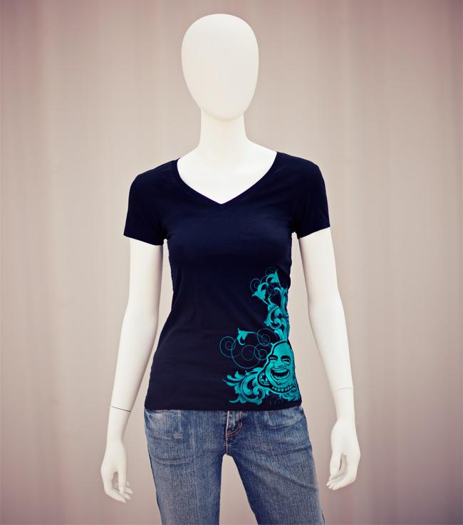 Ornate BAF V-Neck Girl Tee (Teal On Black Shirt)