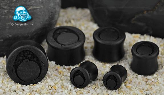 Ebony Wood Penguin Design Plugs