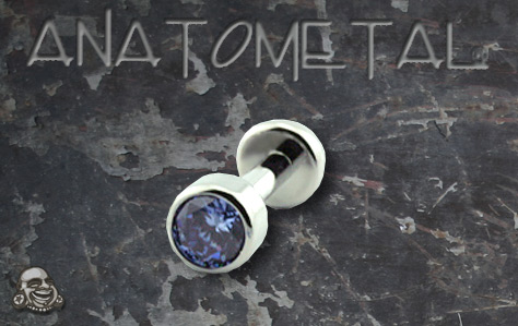 PRE-ORDER Titanium Flatback Labret with Bezel Set Faceted Gem