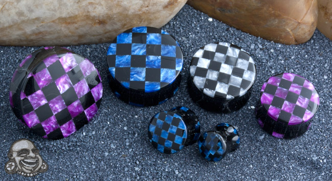 Acrylic Pearlized Swirl Checkerboard Plugs