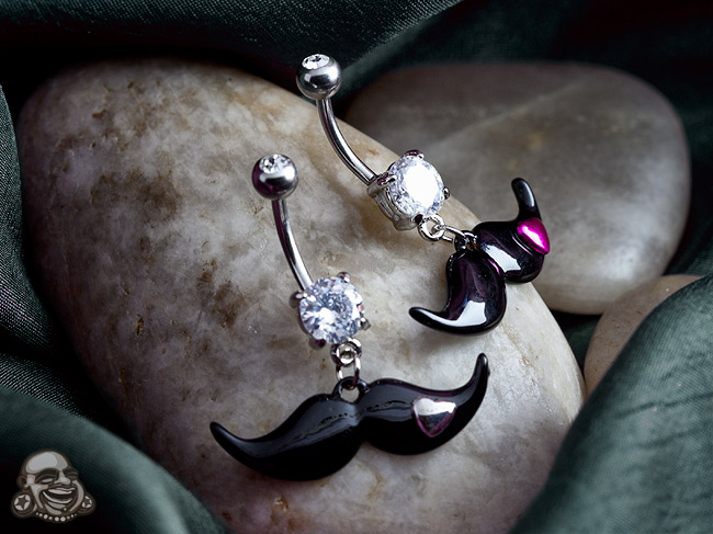 Mustache with Heart Dangle Navel