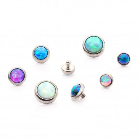 PRE-ORDER Titanium Bezel Set Synthetic Opal Disc Threaded Ends