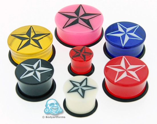 Acrylic Single Flare Nautical Star Plug