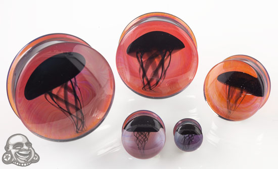 Pyrex Glass Jellyfish Plugs (Black On Amber/Purple)