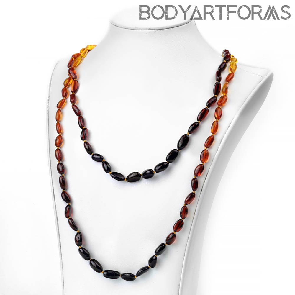 Sunset Amber Bead Necklace