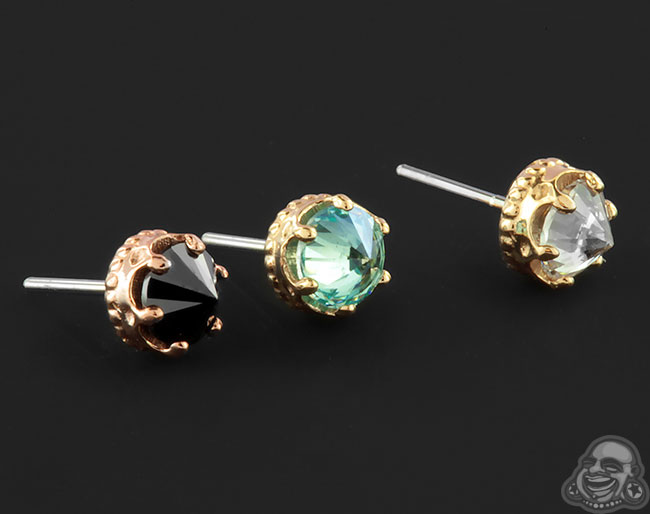 18k Gold Queen Threadless End with Reversed Gem
