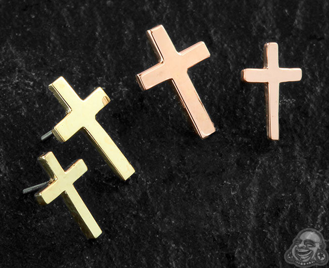 Threadless 18k Gold Cross End