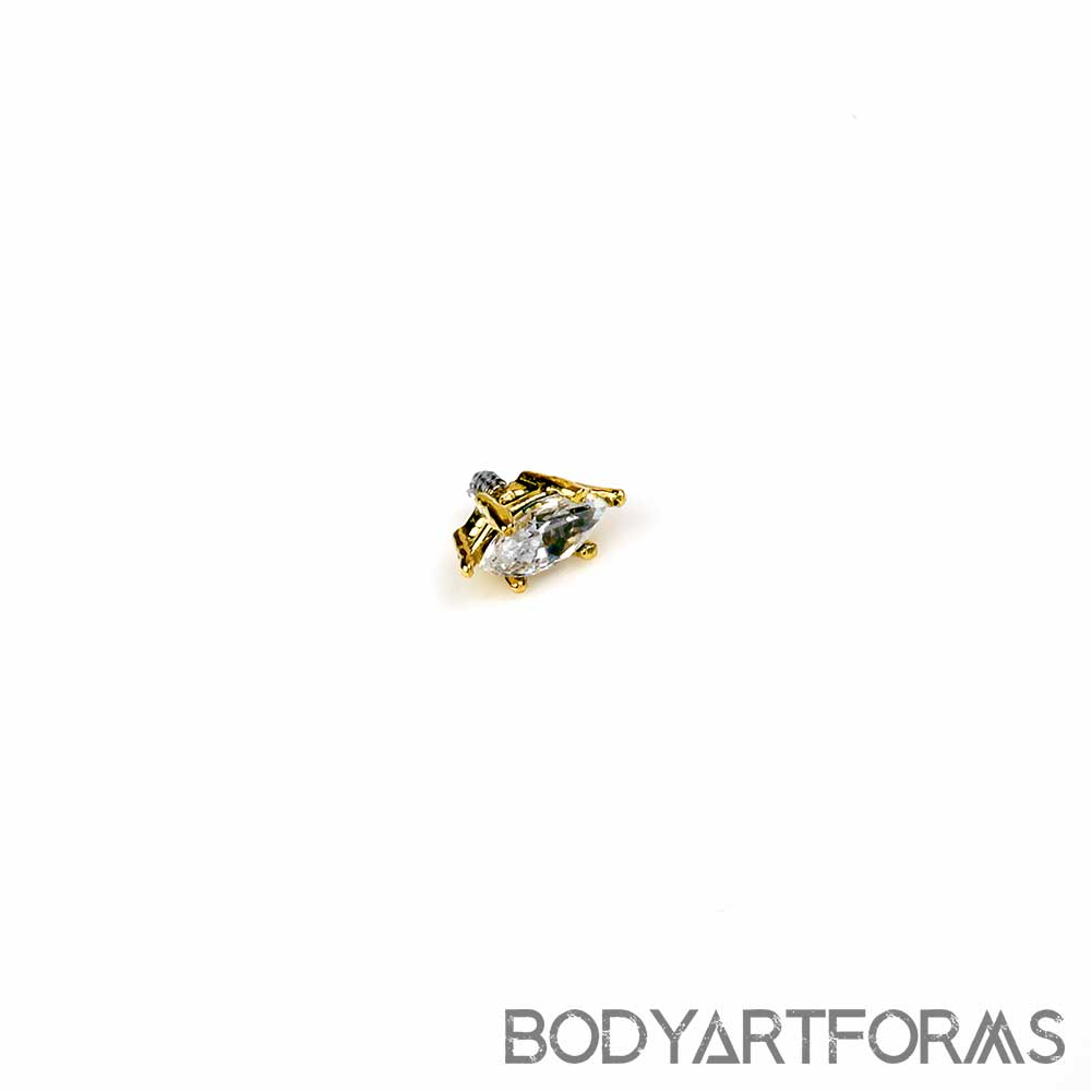 18K Gold Marquise Threaded End