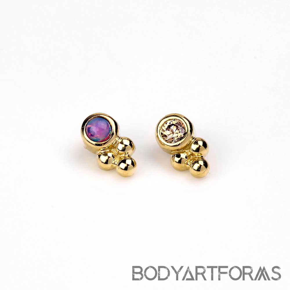 18k Gold One Cluster Sabrina Internally Threaded End