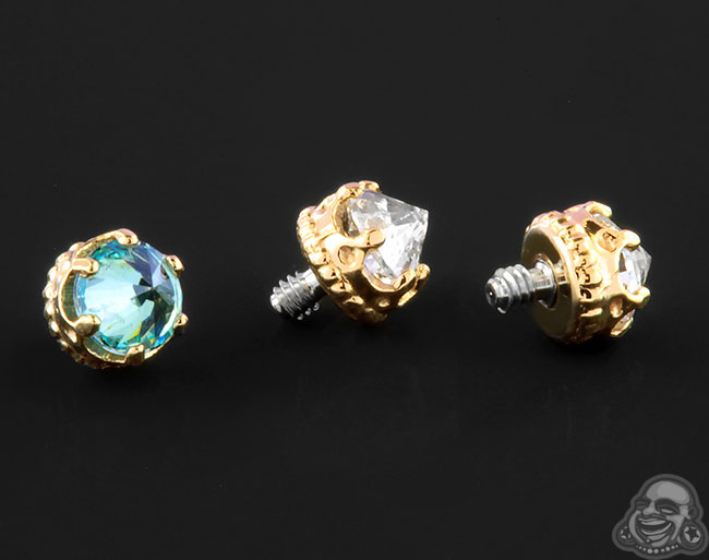 Internally Threaded 18k Gold Queen End with Reversed Gem