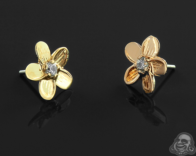 Threadless 18k Gold Plumeria End with Clear Cz