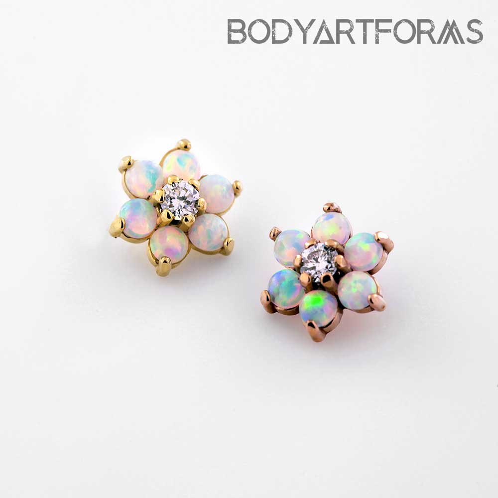 Internally Threaded 18k Gold Flower End (White Opal/Clear CZ)