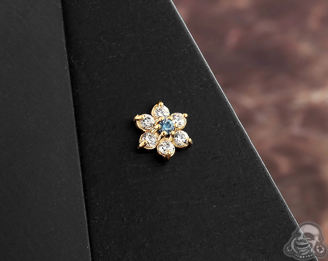 Blue Zircon Center and Clear CZ Petals