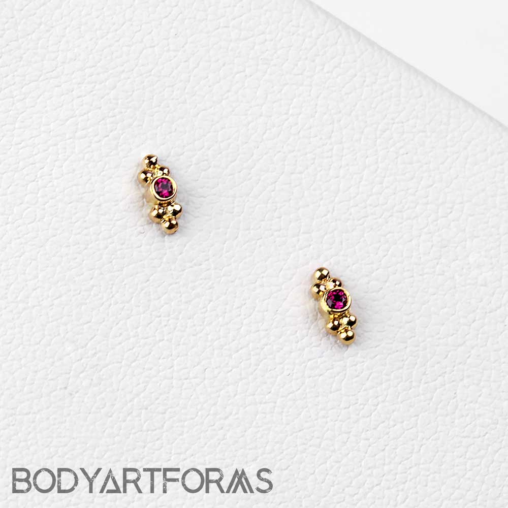 18k Gold Sabrina Two Cluster Threadless End