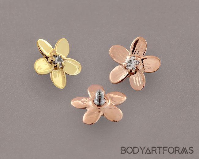 Internally Threaded 18k Gold Plumeria End with Clear CZ