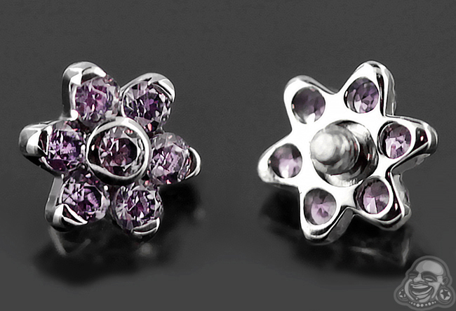 Steel Gemmed Flower Threaded End (Amethyst Cz)