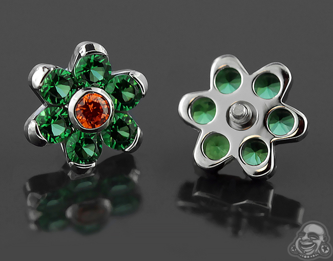 Steel Gemmed Flower Threaded End (Tangerine Cz/Emerald Cz)