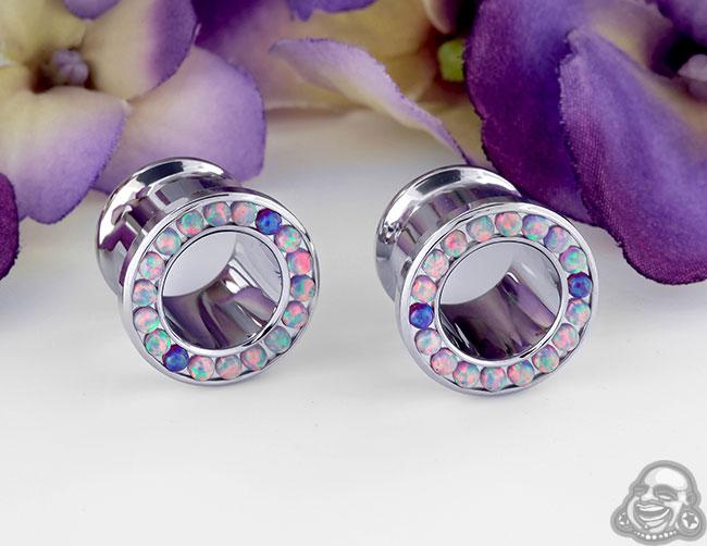 Steel Gemmed Opal Eyelets