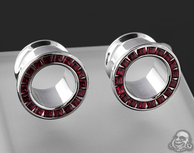 Steel Princess Cut Gemmed Eyelet (Ruby)