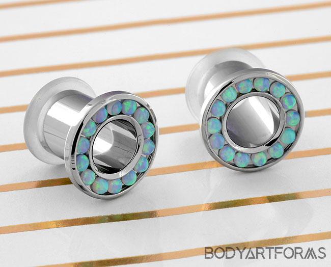 Titanium Gemmed Eyelets (Light Blue opal)