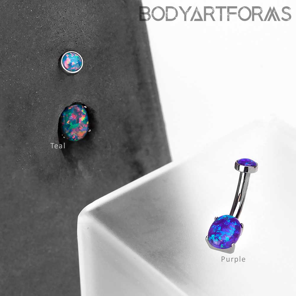 Titanium Oval Navel With Synthetic Opal Belly Button Ring
