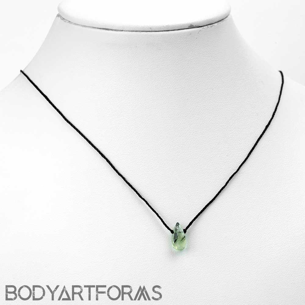 Silk and Prehnite Necklace