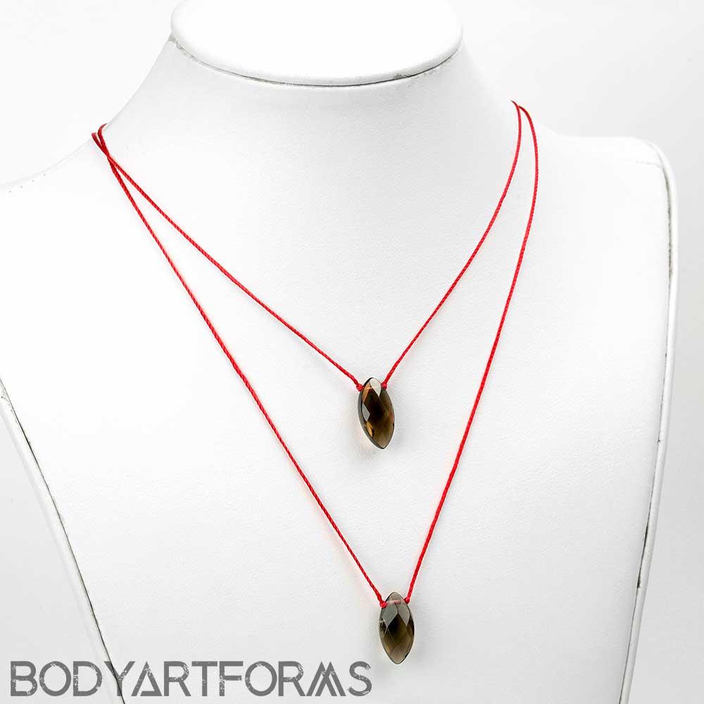 Silk and Marquise Smoky Quartz Necklace