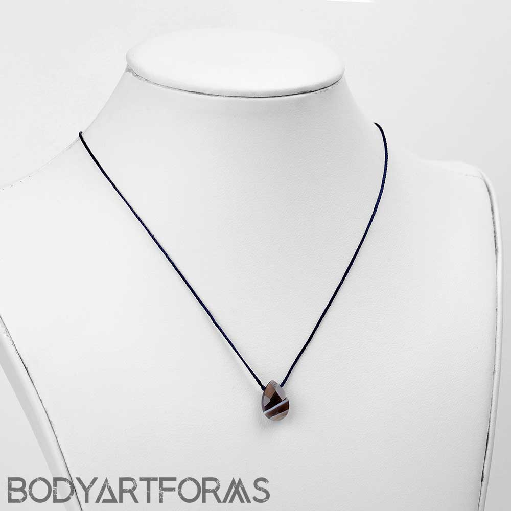 Silk and Botswana Agate Necklace