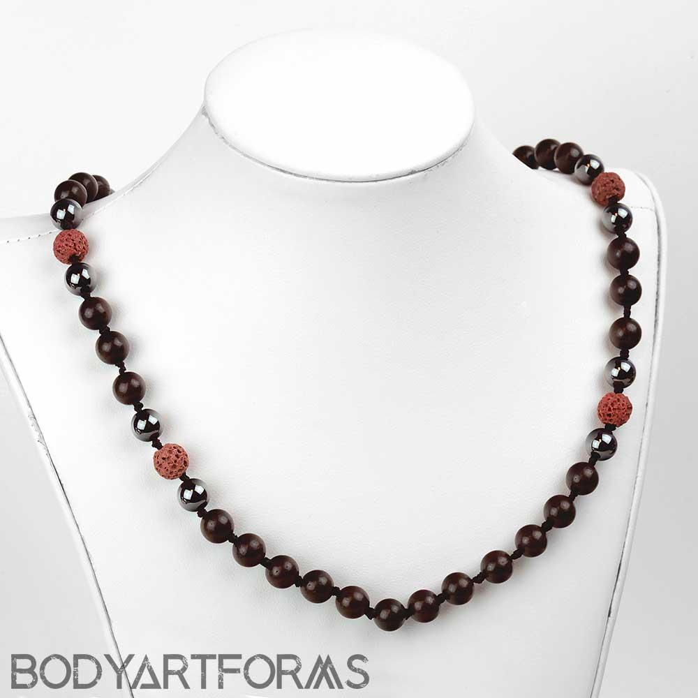 Hematite and Lava Mala Necklace