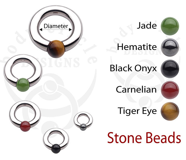 PRE-ORDER Steel Captive With Stone Bead