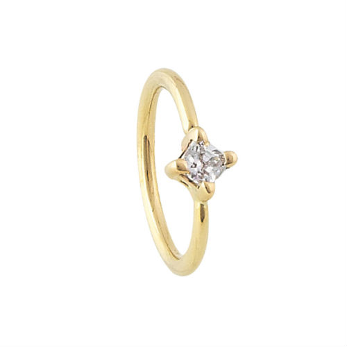 PRE-ORDER 14k Gold Princess Cut Fixed Bead Ring