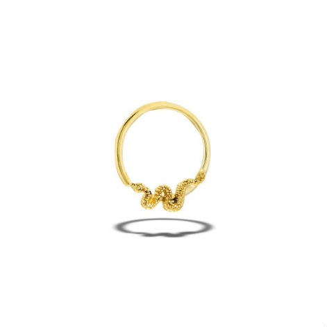 PRE-ORDER 14k Gold Snake Fixed Bead Ring