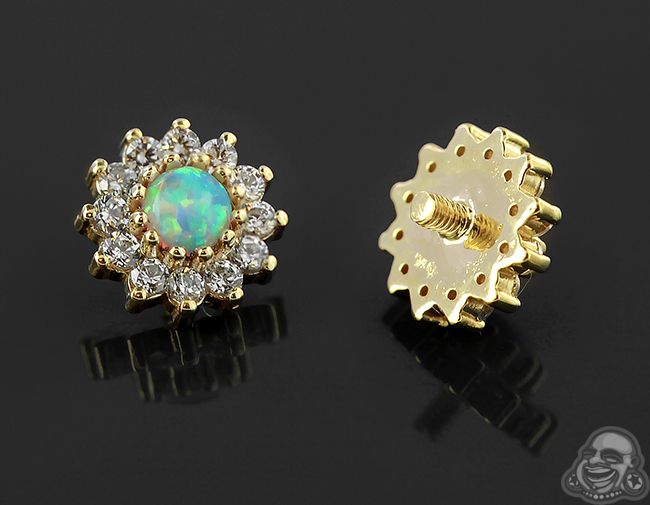 14k Gold 13 Stone Cluster Threaded End