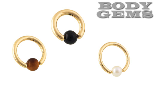 PRE-ORDER 14k Yellow Gold Captive with Stone Bead