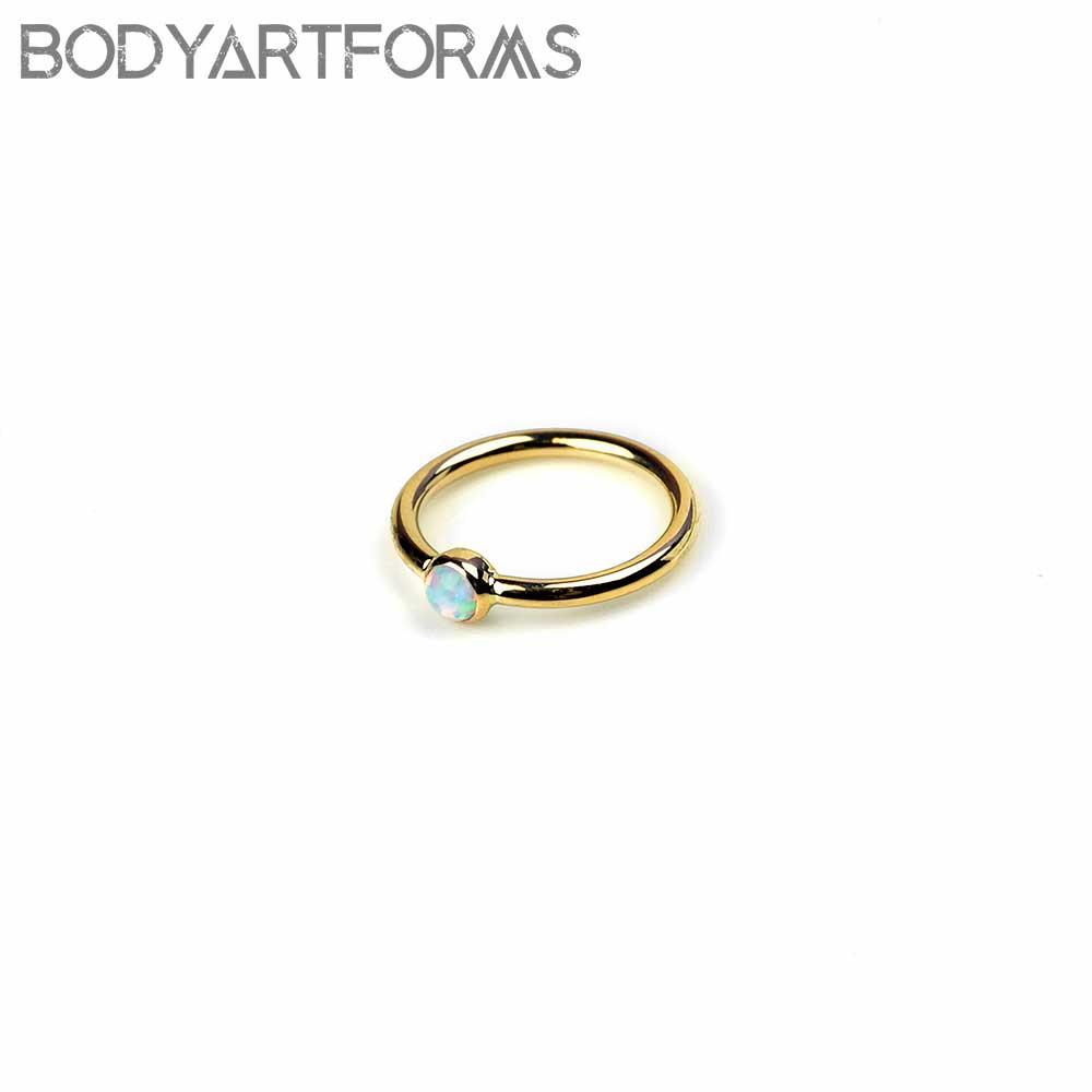 14K Gold Bezel Set Fixed Bead Ring