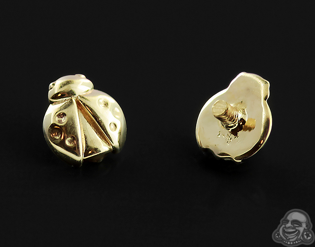 14k Gold Ladybug Threaded End