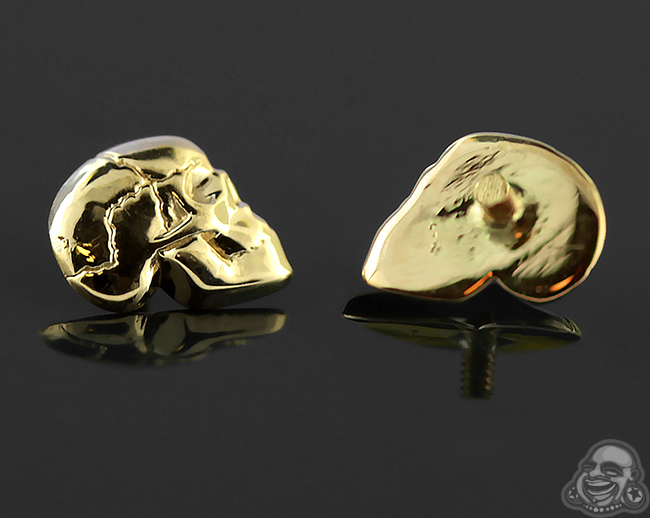 14k Gold Skull Threaded End