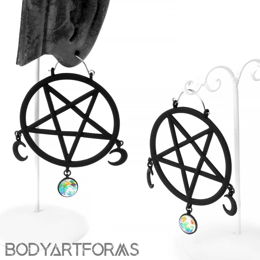 Black Pentagram Dangle Earrings
