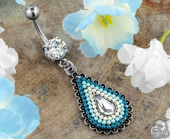 Blue Beaded Navel