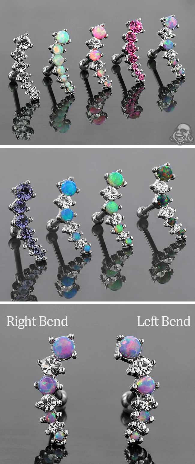 Curved Gem Cluster Barbell