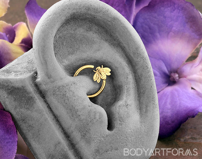 14k Gold Fixed Bee Ring